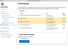 View the forms and datasets stored in your local storage